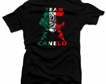 Saul el Canelo  Team Canelo Mens shirt  Boxing Tee Mexican Flag  Black