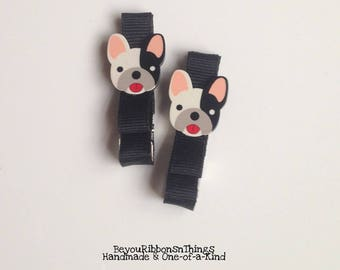 Adorable Dog | Hair Clips for Girls | Toddler Barrette | Kids Hair Accessories | Grosgrain Ribbon | No Slip Grip
