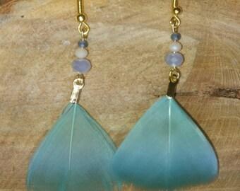 Mermaid inspired feather earrings