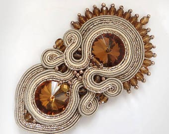 Soutache brooch, brown brooch, Embroidered brooch, gioielli Soutache jewelry, Beaded brooch, Gift for her, sparkling brooch topaz brooch