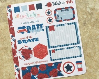 FABULOUS 4TH Decorative Planner Stickers: Suitable for use with  inkWELL Press Planner  or Erin Condren Lifeplanner   Luckaty