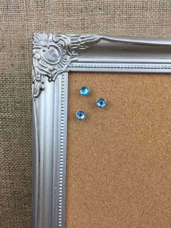SILVER FRAMED CORKBOARD | Silver Pinboard | Silver Cork Board | Ornate Framed Message Board | Notice Board | Memo Board | Vision Board