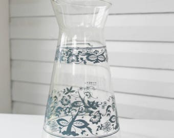Large Vintage Old Town Blue glass Carafe Pitcher-Water Decanter-Blue Onion-Floral