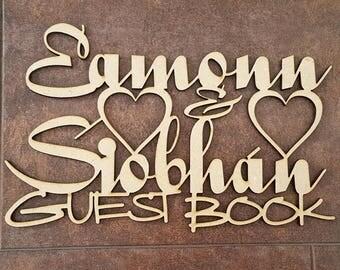 Personalised Laser Cut Wedding Guest Book Topper, Guest Book Topper, Guest Book, Wedding Reception
