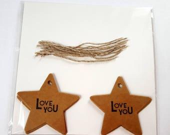 Mini Star Kraft Gift Tags, Christmas Gift Tags, Star Gift Tags, Present, Gift Tags, Kraft Gift Tags, Christmas, Custom, Love You, With Love