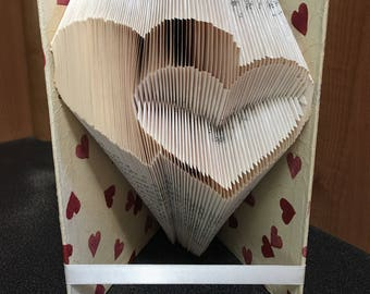 Folded book art double heart