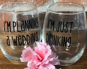 """Maid of Honor & Bride """"Planning Glass"""""""