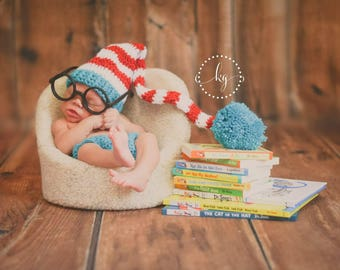 Dr Seuss Newborn infant outfit-photo prop-Dr Seuss inspired photo prop-infant Dr Seuss-long tail hat diaper cover set, baby boy bay girl