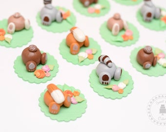 Woodland Animal Cupcake Toppers - set of 12
