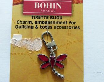Dark pink Dragonfly jewel zipper pull