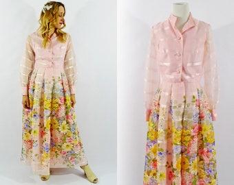 70's Sheer Floral Garden Dress - Size Medium