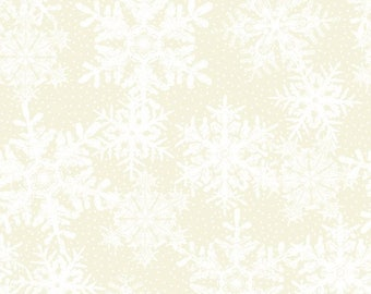 In the Beginning Fabrics 'Cream Sowflakes' Fabric By The Yard; Winter Twist by Jason Yenter, 6WT 1