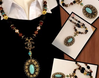 spectacular multicolor one of a kind designer inspired CC Statement, Necklace ,Pendant Necklace