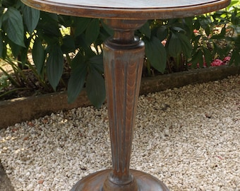 Round table handmade in France vintage wooden / gray vintage wooden pedestal stand