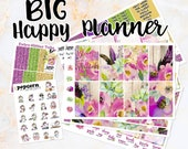 Desert Floral set kit weekly stickers - for BIG Happy Planner - summer boho chic flowers roses purple pink