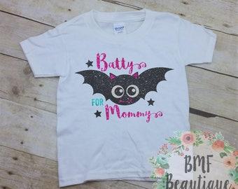 Batty for Mommy Youth Glitter Halloween Shirt, Cute Kids Shirt, Kids Bat Shirt, Kids Halloween Shirt, Cute Halloween Shirt, Cute Bat Shirt