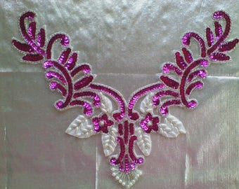 20) Bright Pink and White Sequin and Bead Applique