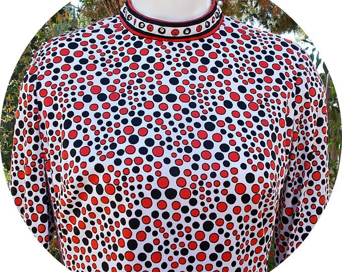 Vintage 60s MOD Jeremy by Alan Phillips Black Red White Psychedelic Circles Womens Rhinestone Embellished Space-Age Go-Go Tunic Mini Dress