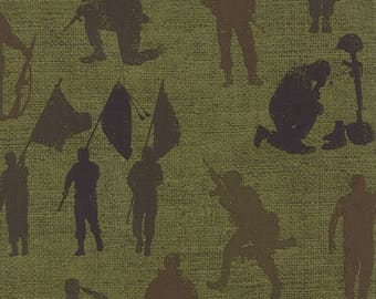 Moda BECAUSE Of The BRAVE Quilt Fabric 1/2 Yard - Army Green 32951 12