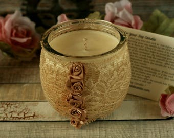 Soy candles handmade, boho gift, cream lace candle holder, shabby chic decoration, boho home decor, hand poured candles, boho candle gifts