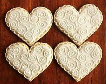 One Dozen - Heart Wedding Favor Cookies - Bridal Shower Party Favors