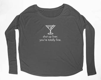 """Ladies """"Liver"""" Flowy Long Sleeve Tee with 2x1 Ribbed Sleeves"""