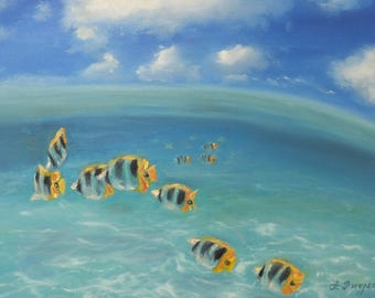 Goldfish painting, Fish painting, fish art, fish wall art, blue painting, ocean painting, goldfish, goldfish art, goldfish gift, oil art