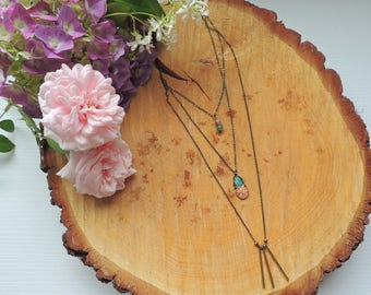 Pineapple Necklace, jade, quartz, antique bronze brass, summer, bohemian
