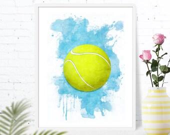 Tennis Ball Sports Print Poster Wall art decor download tennis boys girls room decor printable sports artwork Gifts Kids GreenGreenDreams