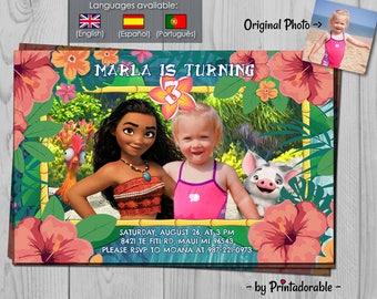 Moana Invitation - Vaiana Invitation with Hei Hei and Pua - Photoshop with Moana Luau - child along with Moana - Polynesian, Hawaiian, Fiji