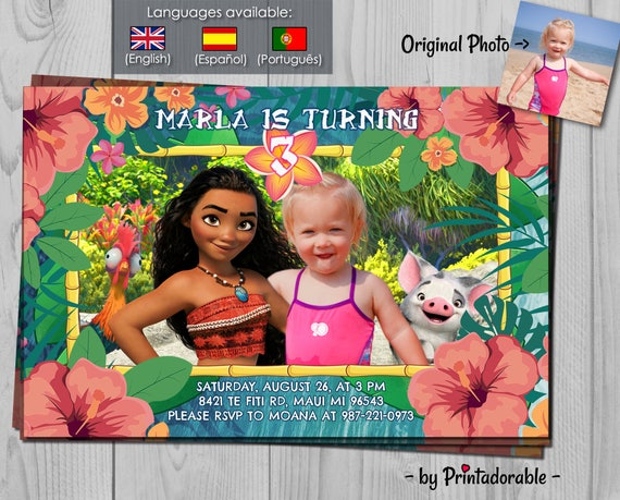 Moana Invitation - Vaiana Invitation with Hei Hei and Pua - Photoshop with Moana Luau - child along with Moana - Polynesian, Hawaiian, Fiji