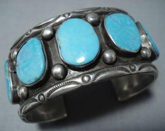 Vintage Navajo Blue Diamond Turquoise Silver Bracelet