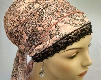 Pink modern floral sinar tichel, tichels, head scarves, chemo scarves, hair snoods