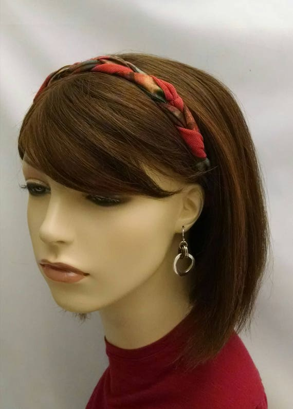 Plaid and solid braided headband, headbands, hair accessories