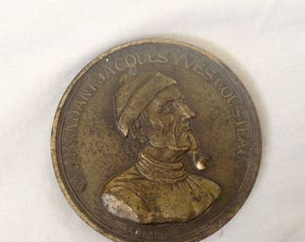 Vintage Bronze Medallion Jacques Yves Cousteau Bronze Medal Lay By Available ( Ref no. A124 )
