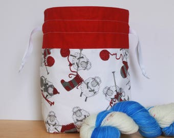 Knitting Sheep Drawstring Project Bag, Knitting Bag, Crochet Bag, Yarn Bag