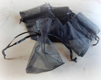 10 7 * 9 cm black organza bags