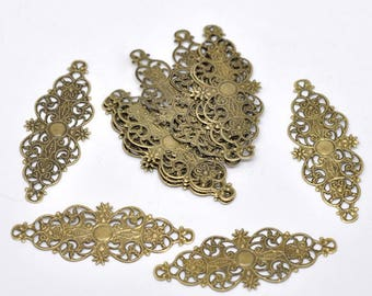 5 connectors prints filigree long 6.1 * 2.4 cm color bronze