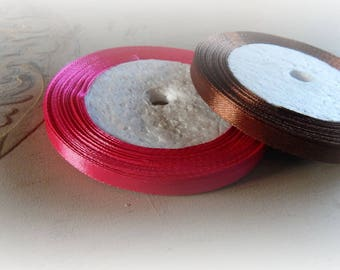 4 m - 2 colours Brown and pink - 6 mm wide satin ribbon