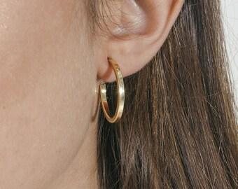 Medium hoop earrings - statement hoop earrings - thick gold hoops - minimal hoops - minimal jewelry - gold trendy hoops-silver hoop earrings