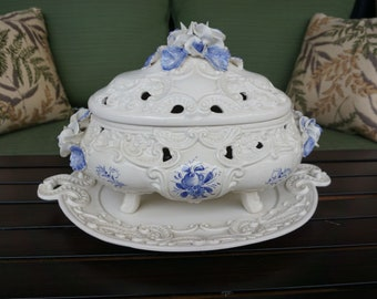 Vintage Soup Tureen with Underplate Made in Italy