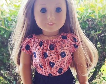 18 inch doll clothes - peasant top in coral