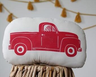 Block Printed Red Pick-up Truck Pillow Plush