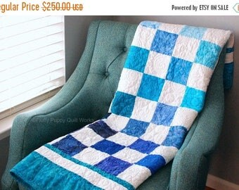 ON SALE Blue and White Lap Quilt, Art Quilt, Ombre Quilt, Heirloom Blanket, Ocean Nursery Decor, Blue Throw, Sofa, Living Room Throw