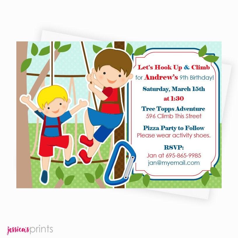 Boys Tree Top Adventure Park Printable Invitation Custom