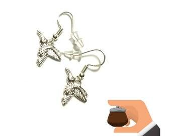 Little Bird Earrings, Miniature Silver Drop  Earrings, Cute Tiny Earrings, Appreciation gift, Every Day Earrings, Stylish On Trend Earrings