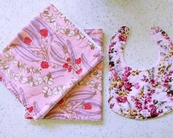 Baby girl gift set two burp cloths and bib pink