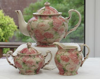 Vintage Teapot, Teapot Set, Teapot, Lidded Sugar Bowl and Cream Jug, Cabbages and Roses, Pink Roses, Earthenware