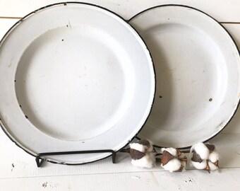 Vintage enamelware plates