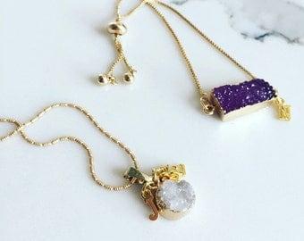 Dainty druzy with initial charm necklace, personalized necklace, personalized druzy necklace, druzy necklace, initial necklace, personalized
